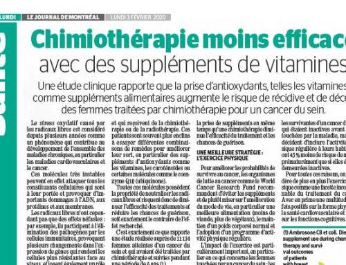 Chimiothérapie moins efficace avec des supléments de vitamines