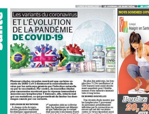 Les variants du coronavirus et l'évolution de la pandémie de COVID-19