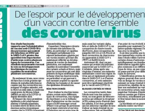 De l'espoir pour le développement d'un  vaccin contre l'ensemble des coronavirus